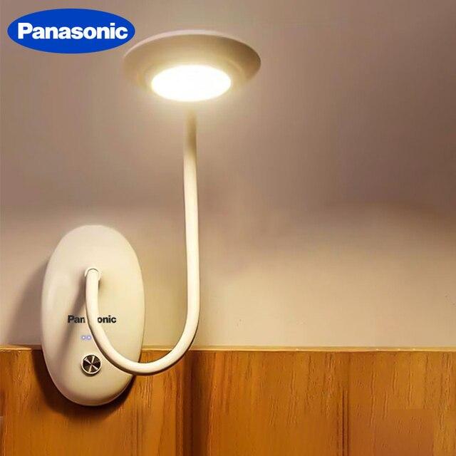Panasonic Kẹp Để Bàn LED Công Tắc Cảm Ứng 3 Chế Độ Bảo Vệ Mắt Để Bàn Đèn Mờ USB Sạc Đèn Led Để Bàn