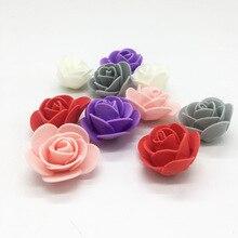 100pieces/lot 3.5cm Simulation Mini PE Rose Flower Head Artificial Flowers Handmade DIY Wedding Home Decoration