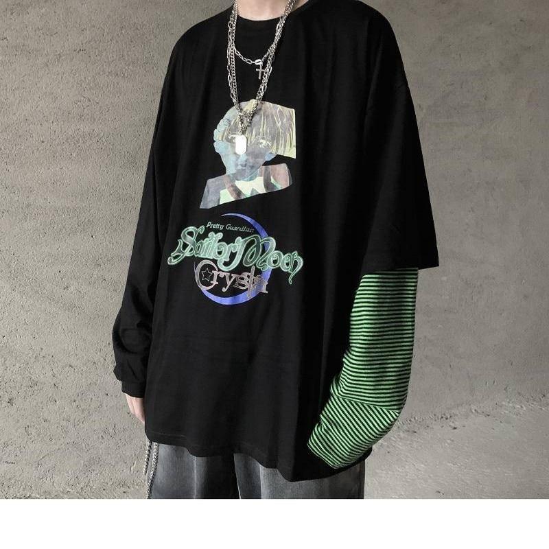 NiceMix Gothic Punk T Shirt Women Spring Autumn New Long Sleeve O-Neck Black Clothing Fashion Patchwork Hip Hop Tee Friends Tops