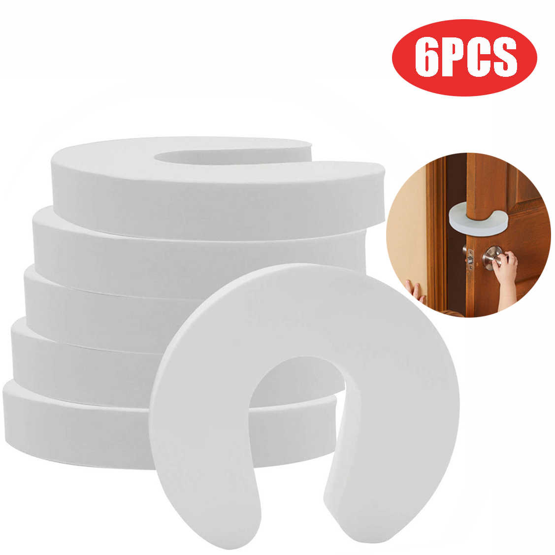 6PCS Doorways Gates Decorative Door Baby Care Soft Reusable C Shaped Door Safety Finger Guards for Cabinet Drawer Door #40