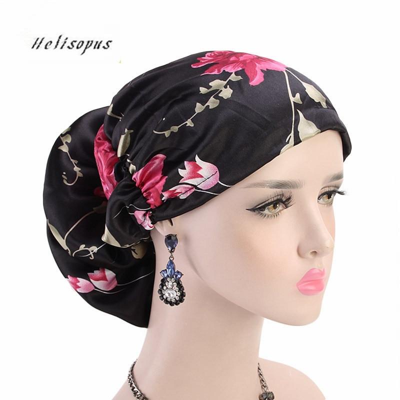 Helisopus 2020 New Big Flower Turban Luxury Hat Cancer Chemo Caps Women Satin Beanies Hijab Fashion Hair Accessories