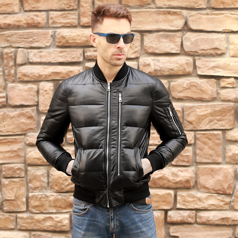 Free Shipping.mens Winter Warm Genuine Leather Jacket.90% White Duck Down Coat.MA1 Soft Sheepskin Jacket.brand New.sales