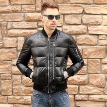 Ücretsiz kargo. Erkek kış sıcak hakiki deri jacket.90 % 100 beyaz ördek uzun kaban. MA1 yumuşak koyun derisi jacket.br ve yeni. Satış