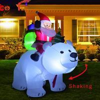 2m Polar Bear Inflatable Santa Christmas Riding Polar Bear Inflatable Doll Christmas Decorations for Home Christmas Doll