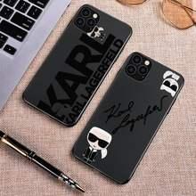 Letras dos desenhos animados lagerfeld marca designer karls caso de telefone para iphone 11 12 pro mini xs max 8 7 6 plus x se 2020 xr silicone