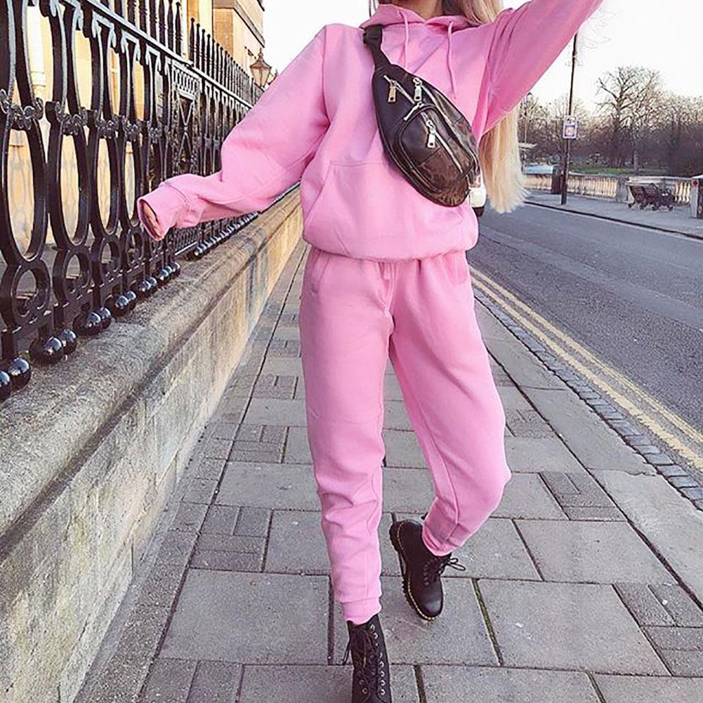 Fashion Solid Color Women Warm Women Two Piece Set Sports Jogger Hoodies Sweatshirt Trousers Set Winter Tracksuit Women Sportsui
