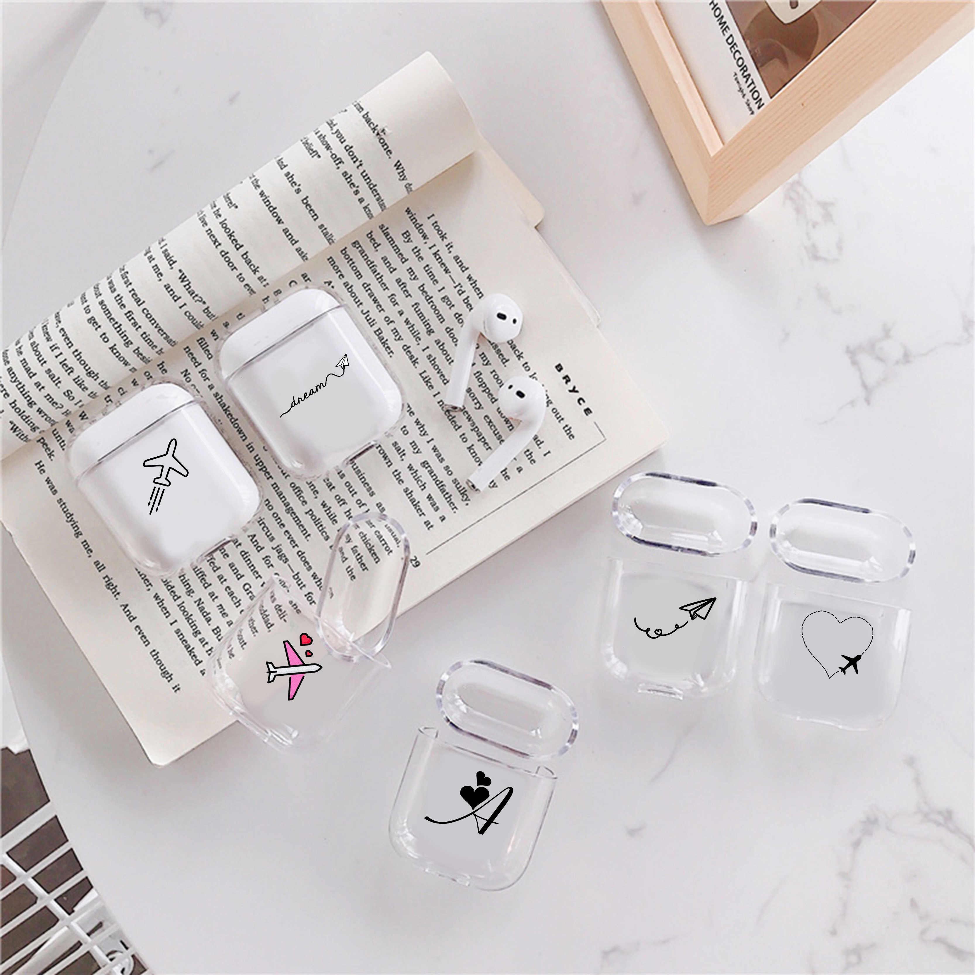 Molle Del Silicone di Lusso Caso Per Apple airpods Baccelli di Aria Caso Sveglio di Linee Semplici Trasparente Airpods Caso in Accessori Per Auricolari