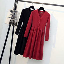 Women Solid Knitted Dress Vestidos 2019 Autumn Winter Long Sleeve V-neck Button Thick Sweater Dress Elegant Elastic Mini Dress zbaiyh maternity dress autumn winter cotton knitted oneck long sleeve sweater dress for pregnant women solid color elegant dress