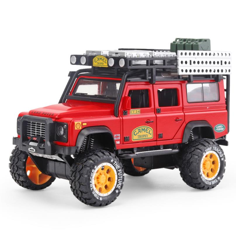 1/28 Camel Trophy Diecasts & Toy Vehicles Defensor Sound & Light Coleção Modelo de Carro Brinquedos Do Carro Para Crianças Menino Presente brinquedos