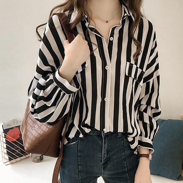 Plus Size Women Blouse Shirt Womens Tops And Blouses Fashion Elegant Blouse Women Striped Shirt Long Sleeve Women Shirts 1728 50 Blouses Shirts Aliexpress