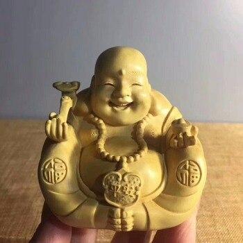 Buxus artesanías de madera estatuas de tallado de madera decoración de madera Wenwan piezas de mano decoración de coche bien Bu