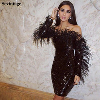 Sevintage Black Shinny Mini Prom Dresses with Feathers Long Sleeves Sequin Evening Gowns Formal Party Women Dress 2020 Customize