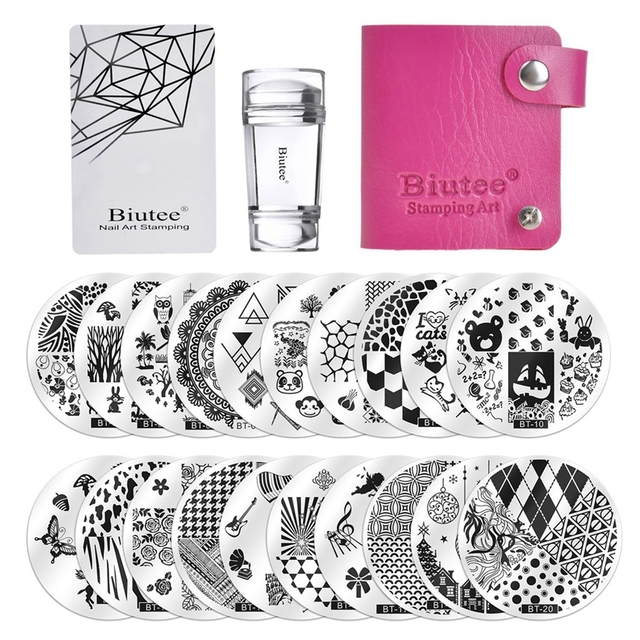 Biutee 30pcs/Set Nail Art Stamping Plates Set Geometric Flowers Multi-pattern Nail Plates Stamp Art Decoration Nail Accessories 1