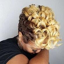 HAIRJOY-Peluca de cabello sintético para mujer, pelo corto rizado afroamericano