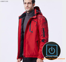 USB Heating Jackets Men's Outdoor Windproof Warm Coat Mountaineering Cotton Padded Jacket 10XL Coat Men Heated Sheet Detachable(China)