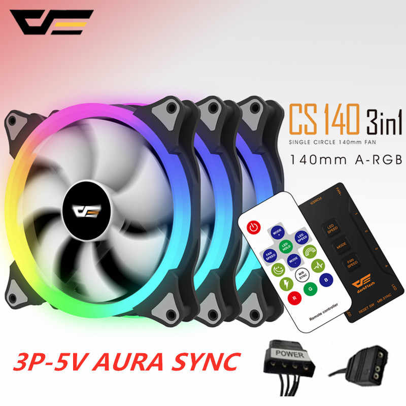 Aigo darkFlash AURA SYNC 3P-5V ventilateur PC refroidissement 140mm LED ventilateurs PC ordinateur refroidissement refroidisseur boîtier silencieux ventilateur contrôleur