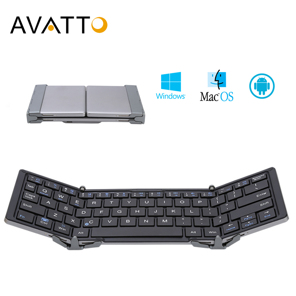 AVATTO Aluminum Case Portable Folding Bluetooth Keyboard, Foldable Wireless Mini Tablet Keyboard For IOS/Android/Windows Phone