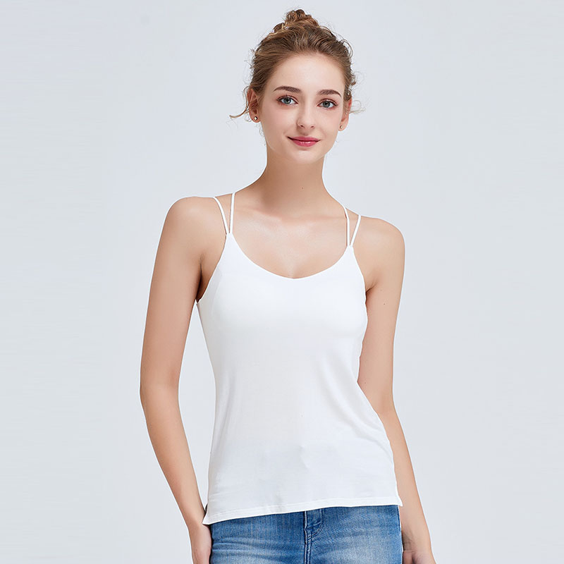 Built in Bra Padded Crop Tank Top Elastic Camisoles Lace V Neck Sleeveless