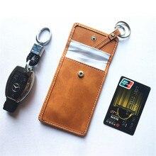 Bloqueo de señal de cuero sin llave para llave de coche, funda RFID, funda, 1 unidad, cuero auténtico, doble cubierta, llave blindada para coche