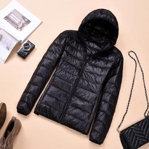 Image 4 - 2018 Womens Autumn Jackets Fashion Ultra thin with Hooded Ladies Slim Coats Plus Size 4XL 5XL 6XL 90% Duck Down Female Tops Coat