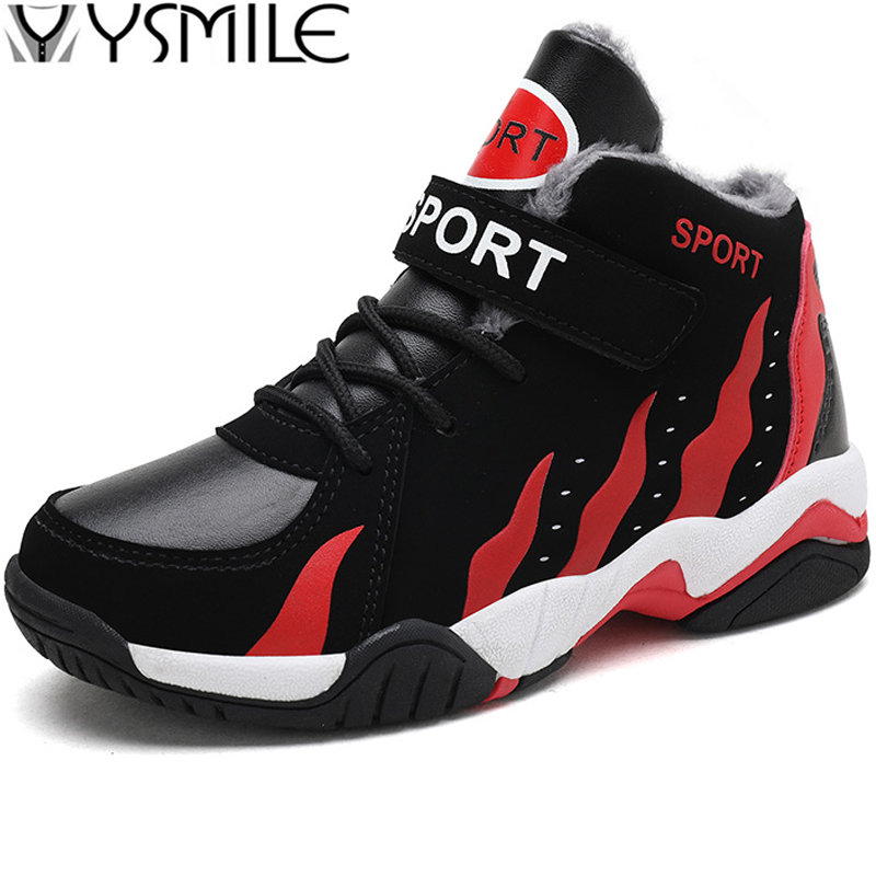 Thick Sole Non-slip High Top Winter Warm Kids Sneakers Boys Basketball Shoes Children Sport Trainer Basket Boy