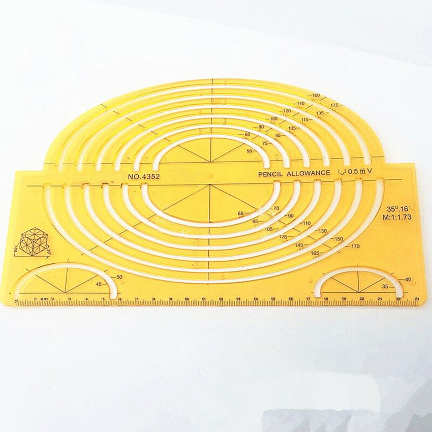 Geometric Drawings Templates K Resin Oval Measuring Template Rulers Clear Yellow Template For Drawing, Strong Flexibility