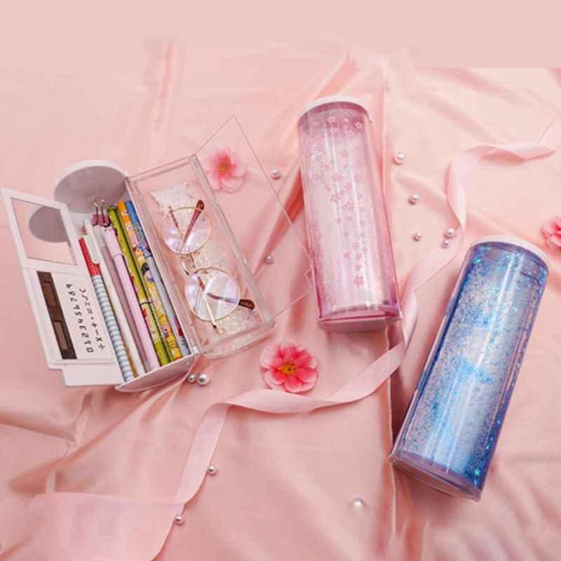 Pencil Case Set Portable Quicksand Translucent Cylindrical Box Student Supply
