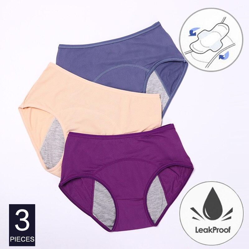 3pcs/Set Menstrual Panties Women Sexy Pants Leak Proof Incontinence Cotton High Waist Underwear Women Briefs Period Lingerie Hot
