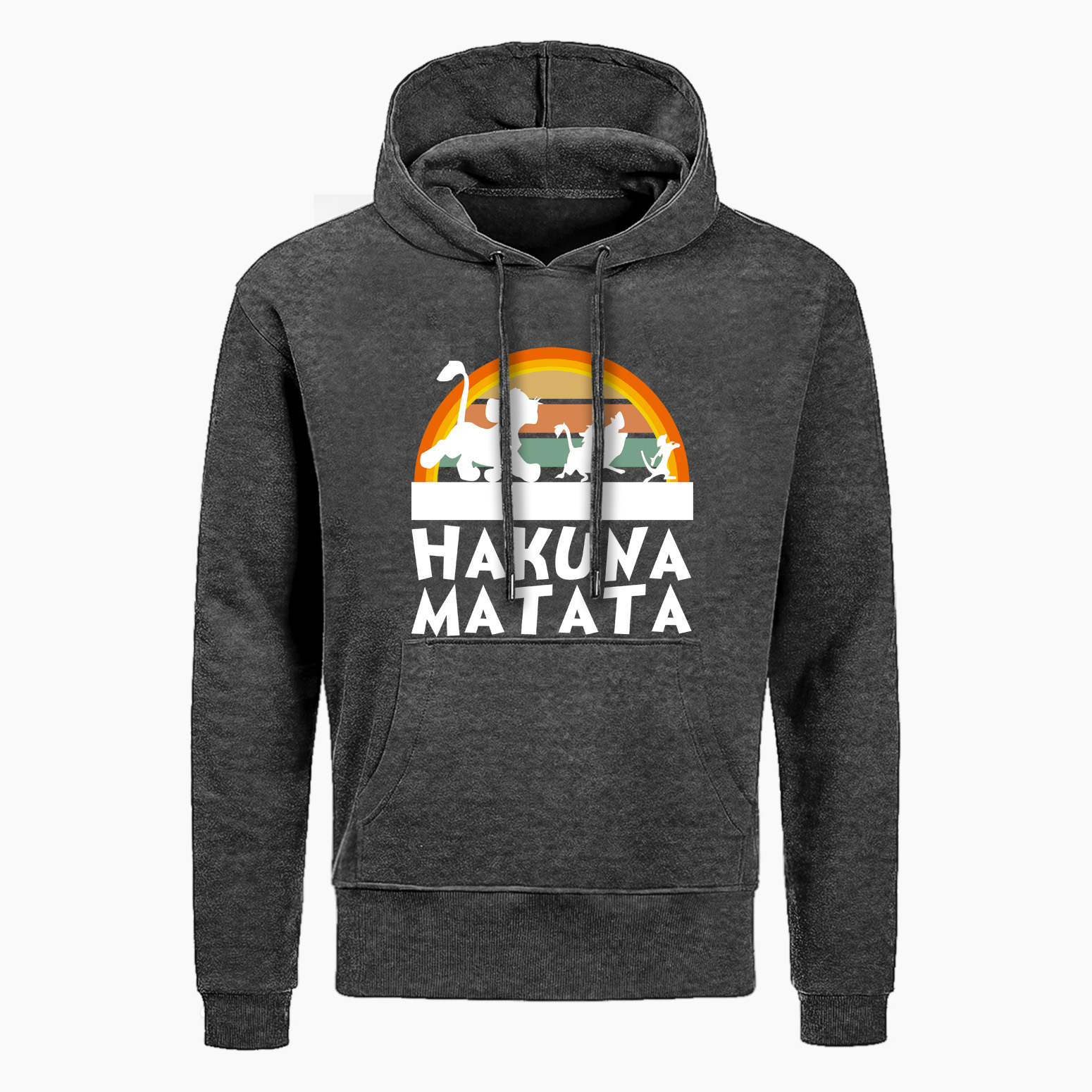 <font><b>Hakuna</b></font> <font><b>Matata</b></font> Fleece Hoodies Men Casual Fleece <font><b>Lion</b></font> <font><b>King</b></font> Sweatshirt Mens Fashion Harajuku Pullover Animal Kingdom Men's Hoodies image
