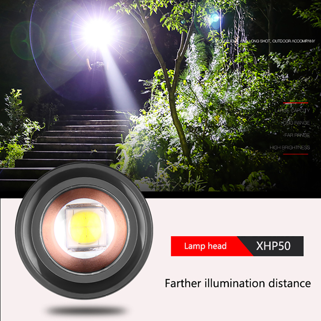 Image 3 - Aluminum Alloy XHP50 LED Flashlight 4 Modes Outdoor Torch Charge display Taschenlampe Jagdlampe Camping Lampe 1x18650 Battery-in LED Flashlights from Lights & Lighting