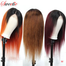 Sweetie 13x4 Ombre Lace Front Human Hair Wigs 150% Density 1b/30/350/99J Brazilian Remy Human Hair Straight Wigs Pre-Plucked(China)