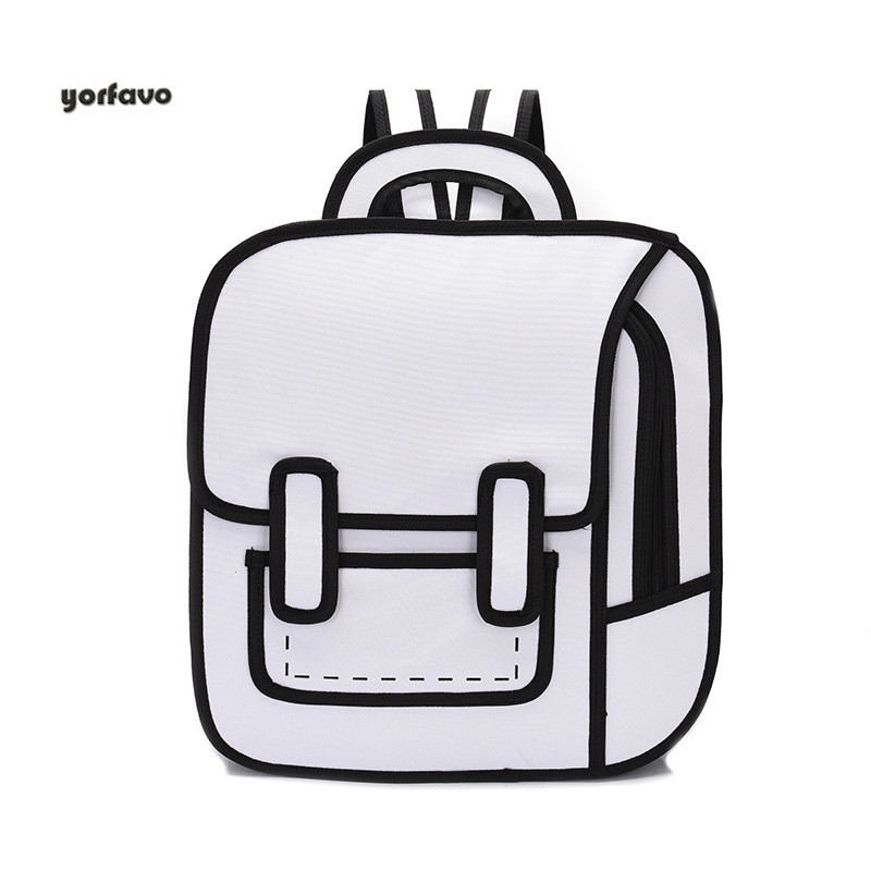 2020 New Fashion Unisex Backpack 2D Drawing Back Packs Women Cartoon Comics Bag 3D Schoolbag College Travel Bags For Girls