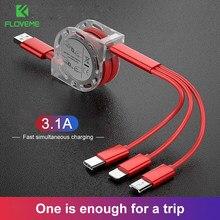 Cable USB 3 en 1 para iPhone, Samsung, Xiaomi, cargador de carga rápida, Cable Micro USB tipo C para teléfono móvil