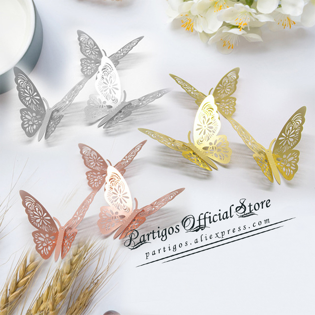 12Pcs 4D Hollow Butterfly Wall Sticker DIY Home Decoration Wall Stickers wedding Party Wedding Decors Butterfly Kids Room Decors 3