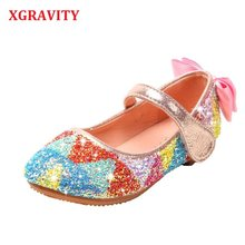 XGRAVITY Glitter Flats Child Bright Comfort Fashion Girls Footwear Colorful Rainbow Children Shoes Butterfly Shoes Girl V006(China)
