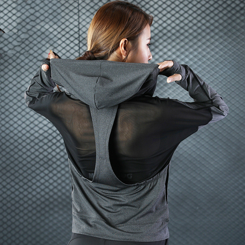 Yoga Top Jacket Hooded Long Sleeve Women Sport T Shirt Fitness Gym Clothing Women Sport Hoodie Sweatshirt Sportswear Tracksuit