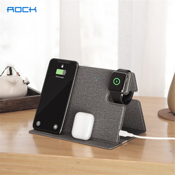 ROCK 10W Wireless Charger Pad for iPhone 12 11 Pro Max Samsung S20 PU Leather Wireless Charger Stand for Airpods Pro 2 1 iWatch