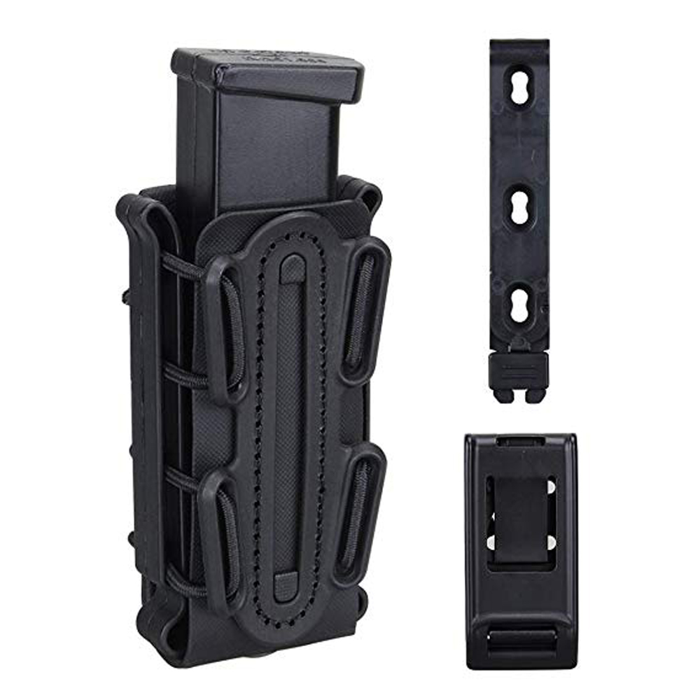 9mm Tactical Magazine Pouch Airsoft Hunting Shooting Holster Rifle Mag Pouch HolderSoft Shell Mag Carrier Bag With Belt Clip