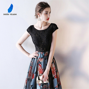 Image 4 - DEERVEADO Cap Sleeve Elegant Evening Dresses Long Flower Pattern Short Sleeve Lace Dress Evening Gowns Formal Party Dresses M246