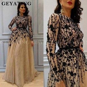 Image 1 - Árabe saudita manga longa vestido de noite dubai champagne renda cristal frisado vestidos de noite 2020 senhoras alta pescoço formal vestido