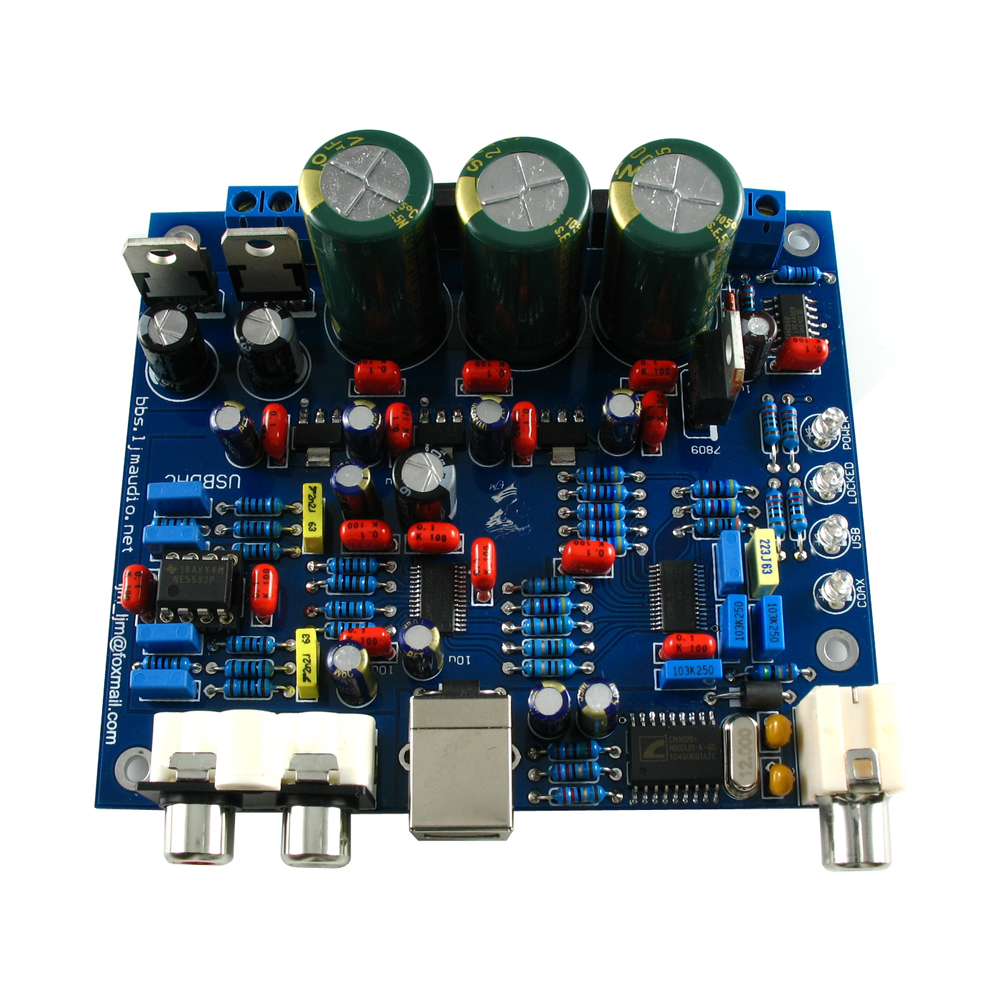 placa de acabamento cs8416 cs4398 dac board usb coaxial dac 192 k 24bit board