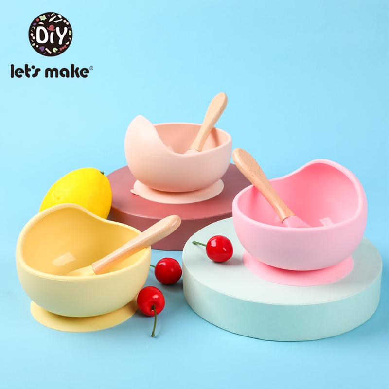 Tableware Bowl Spoon Feeding-Set Baby-Plate Let's-Make Silicone Non-Slip Waterproof 1set