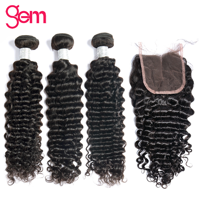 Deep Wave Bundles With Closure Peruvian Hair Weave 3/4 Human Hair - Mänskligt hår (svart)