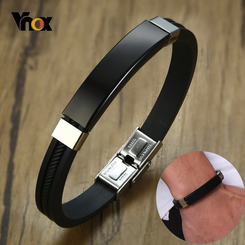 Vnox Personalized Stainless Steel ID Bracelets for Men Women Black Silicone Bangle Custom Casual Sports Male Pulseira
