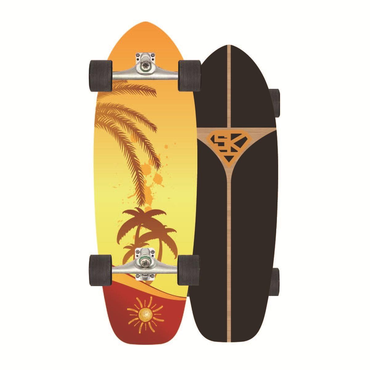 AddFun Land Surfboard Cruiser Skateboard Trucks Maple Wood All Crowds Four Wheels Skate Adult Board Decks Scooter All Terrain