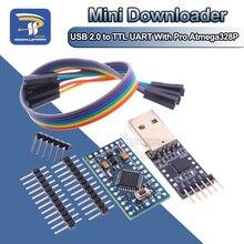 1PCS 6pin CP2102 USB 2.0 a TTL UART Modulo + 1PCS Pro Mini Modulo Atmega328 5V 16M Per Arduino Compatibile Con Nano