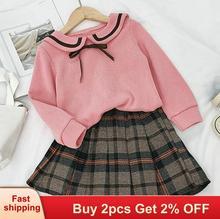 Baby girl dress New Autumn Winter Kids Girl Clothing Set Long Sleeve Bow Tie Cute Children Knitwear 2pcs kids dresses for girls