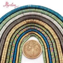 1 × 3 1 × 4 1 × 6ミリメートルシルバーゴールド緑、青、黒heishiヘマタイトスペーサービーズのためdiy女性男性ジュエリーメイキングネックレスブレスレット15