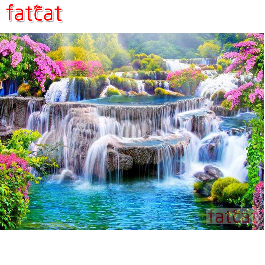 FATCAT Diamond Painting Waterfall Round-Drill Mosaic Spring-Landscape Needlework AE1745