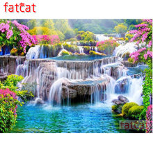 FATCAT Spring landscape waterfall Diamond Painting Full Square Round Drill Diy 5D Diamond Embroidery Mosaic Needlework AE1745